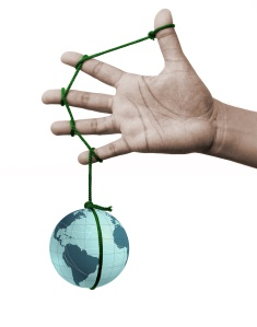 five fingers tied together as a team holding the weight of the globe. Isolated on white.
