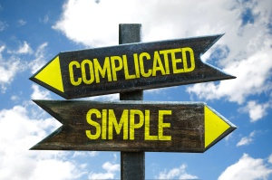 Complicated - Simple signpost with sky background
