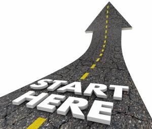 Start Here Beginning Line Road Words 3d Illustration