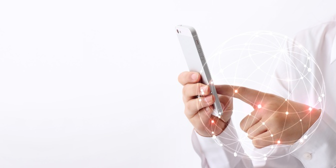 human hand using smartphone on white background