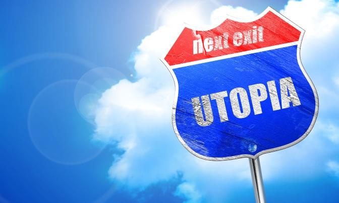 utopia, 3D rendering, blue street sign