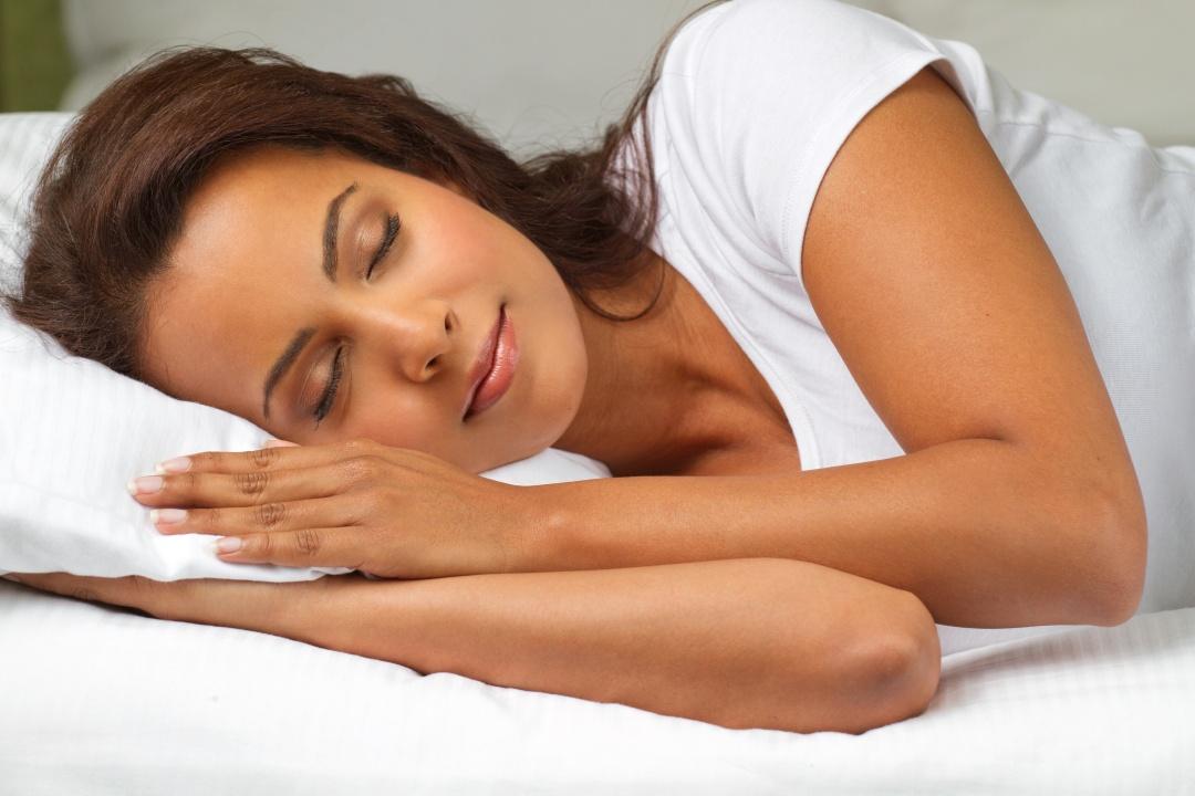Beautiful Hispanic Woman Sleeping.